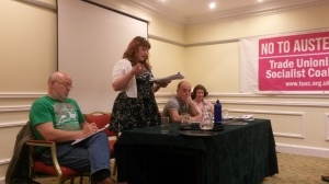 Tanis Belsham-Wray addresses the meeting on behalf of Leeds TUSC