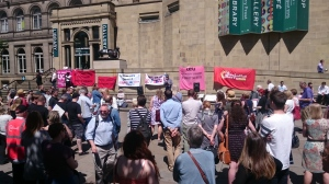 150 attended the rally against FE cuts in Leeds